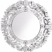 Кръгло венец.огледало с гравир.цветчета